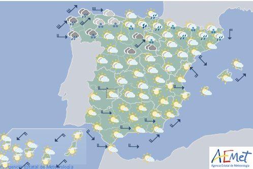 Hoy en España, viento fuerte en el noroeste y nevadas en la montaña al final del día