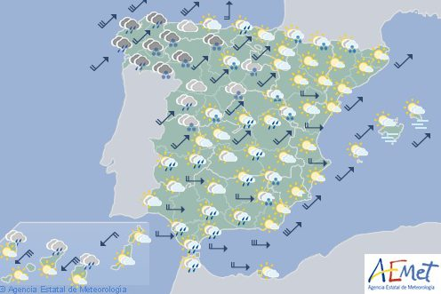 Hoy en España, nevadas en montañas del noroeste y Pirineos y vientos fuertes en los litorales