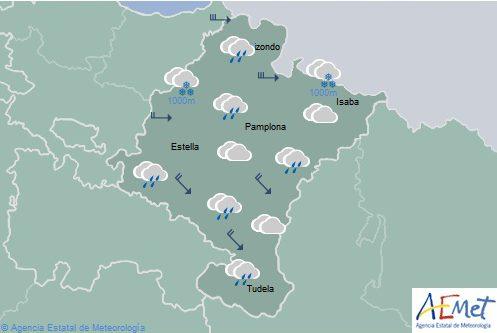 Nuboso y chubascos para hoy en Navarra