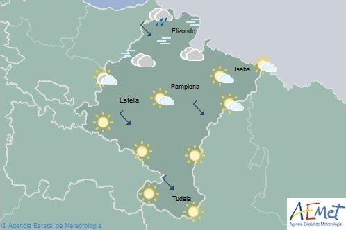 Nuboso y lloviznas en el noroeste de Navarra, temperaturas en descenso