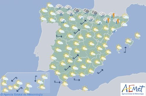 Hoy en España, chubascos que pueden ser tormentosos en la mayor parte de la península