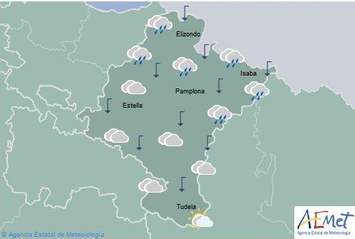 En Navarra cielo nuboso con chubascos y tormentas en Pirineo