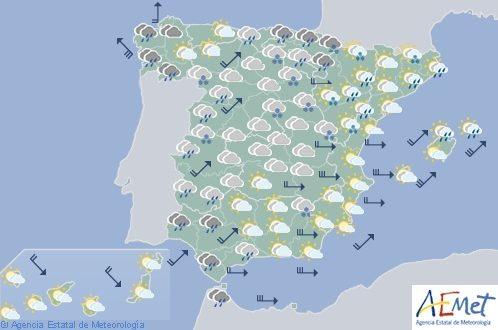 Hoy en España, lluvias localmente fuertes en País Vasco, Navarra y sur de Andalucía