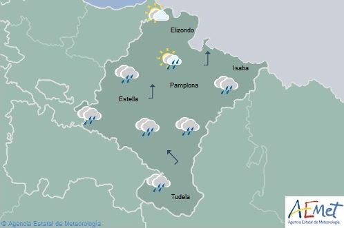 Cubierto con lluvias débiles y tormentas ocasionales en Navarra
