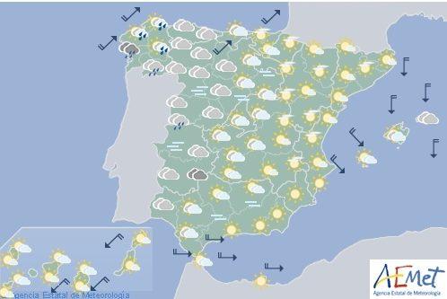 Hoy en España, precipitaciones en el noroeste tendiendo a remitir