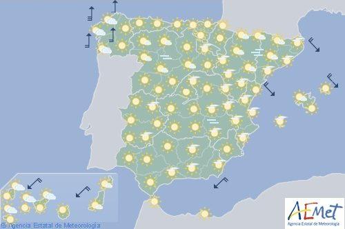 Hoy en España, ascenso de temperaturas en interior peninsular y Cantábrico oriental