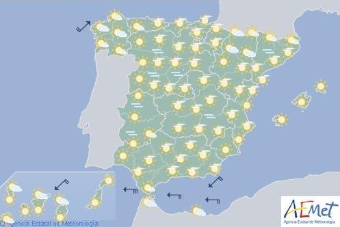 Hoy en España, predominio de cielos poco nubosos y tiempo estable
