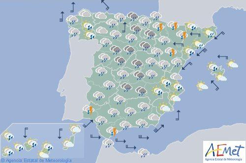 Hoy en España, precipitaciones, descenso de temperaturas y rachas de viento en Pirineos