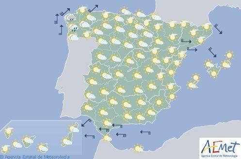 Hoy en España, nubosidad media y alta y temperaturas en ascenso