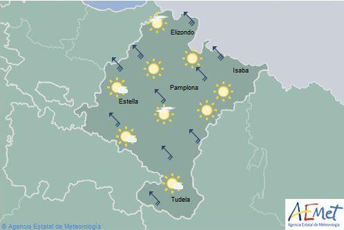 El tiempo hoy en Navarra con temperaturas máximas en aumento
