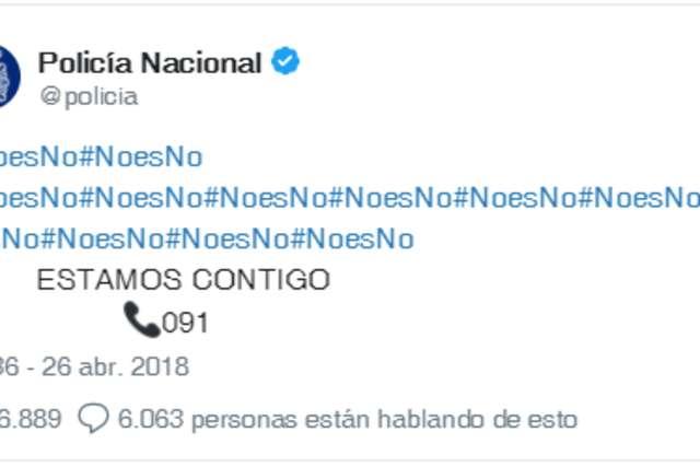 """""""#NoesNo, #NoesNo"""", el tuit de Policía Nacional tras la sentencia de La Manada"""