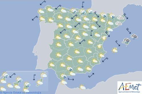 Hoy en España chubascos localmente fuertes en el extremo sur de Andalucía