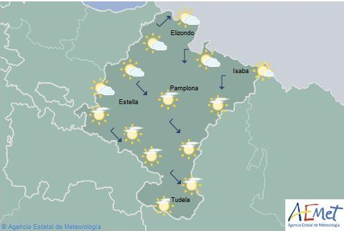 En Navarra nubosidad de evolución, chubascos ocasionales
