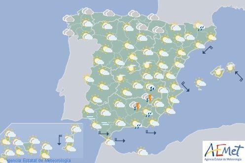 Hoy en España continúan las tormentas, con granizo en el interior del tercio este y nordeste