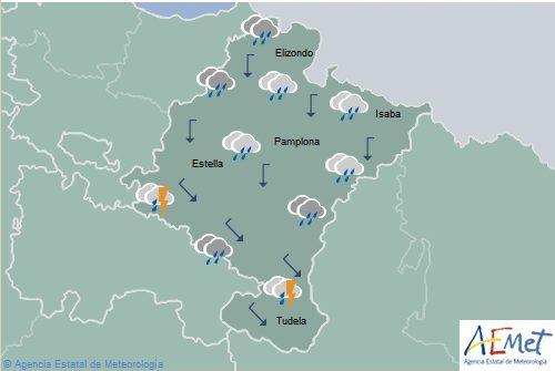 El tiempo hoy en Navarra con lluvias y chubascos generalizados