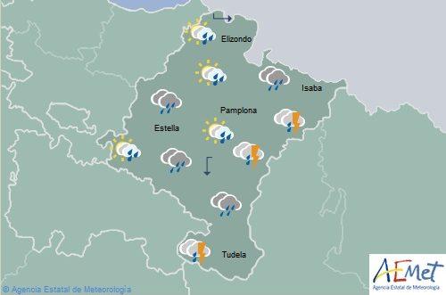 En Navarra cielo cubierto con chubascos y tormentas