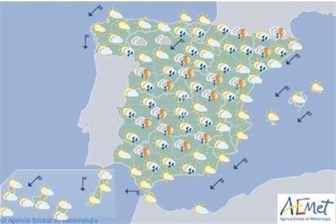 Hoy en España, lluvias fuertes en Extremadura y sistemas Central e Ibérico