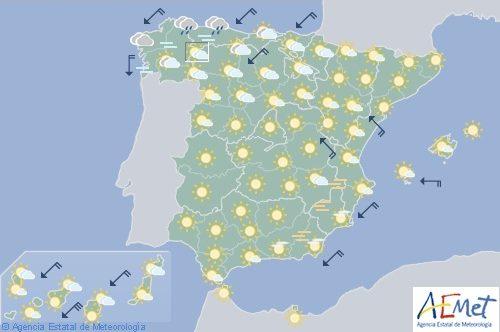 Hoy en España, lluvias en Alto Ebro y Pirineos y ascenso de temperaturas en interior