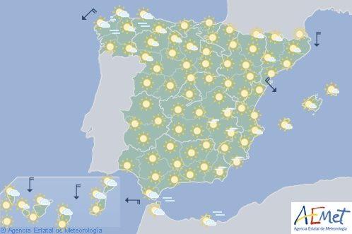 Hoy en España temperaturas altas en el interior, islas, litoral de Cataluña y Galicia