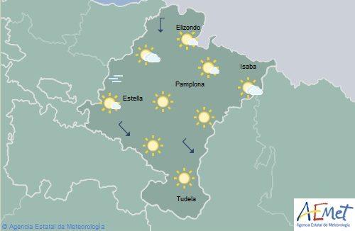 En Navarra, poco nuboso o despejado con máximas en ascenso