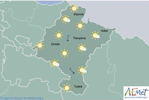 En Navarra poco nuboso o despejado