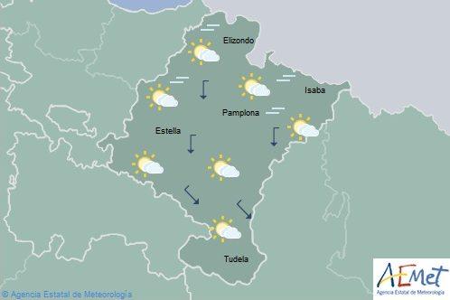 Intervalos nubosos en Navarra, temperaturas máximas sin cambios