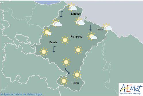 En Navarra cielo poco nuboso o despeado con temperaturas sin cambios