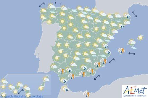 Hoy en España, chubascos y tormentas fuertes en el sur y sureste