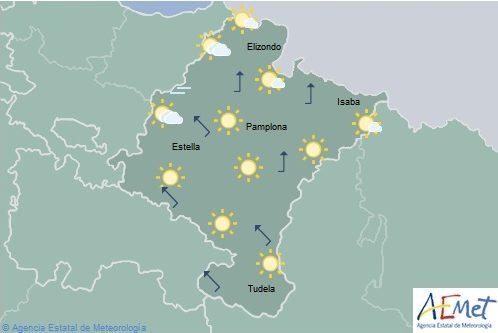 Poco nuboso o despejado en Navarra con temperatura máximas en aumento