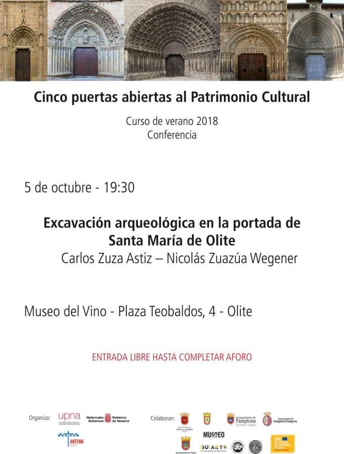 AGENDA: 5 de octubre, en Museo del Vino de Olite, charla sobre la portada de Santa María