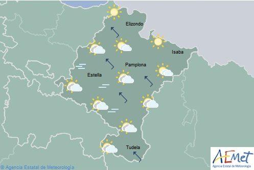 Cielo poco nuboso en Navarra, temperaturas con pocos cambios