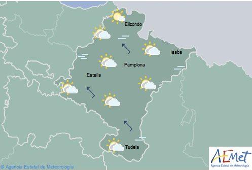Cielo poco nuboso en Navarra, temperaturas máximas en ligero descenso