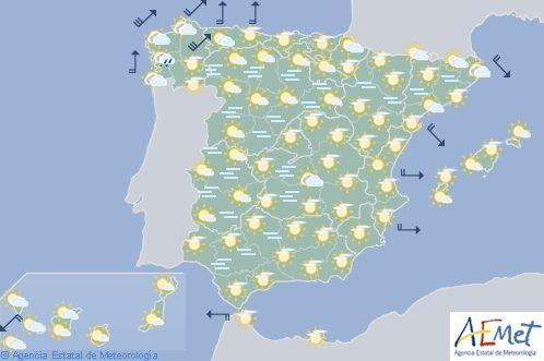 Hoy en España, cielo poco nuboso y viento fuerte en Galicia y área Cantábrica