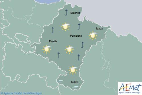 Cielo poco nuboso, temperaturas máximas en ligero ascenso en le norte de Navarra