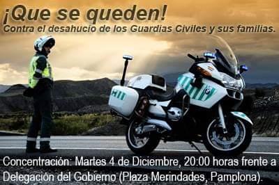 Concentración de apoyo a la Guardia Civil en Pamplona el próximo martes 4 de diciembre