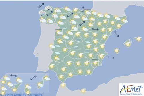Hoy en España, intervalos de vientos fuertes en el litoral gallego