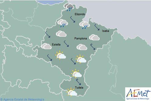 Nuboso o cubierto en Navarra con lluvias débiles