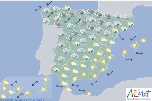 Hoy en España, intervalos de viento fuerte en Galicia, Cantábrico y sierras orientales