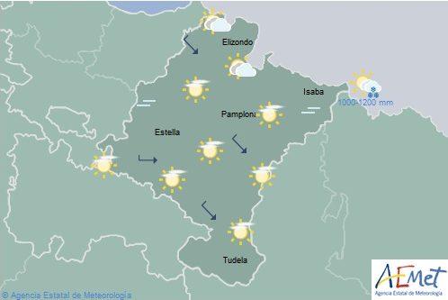 Intervalos de nubes altas y temperaturas en ligero descenso en Navarra