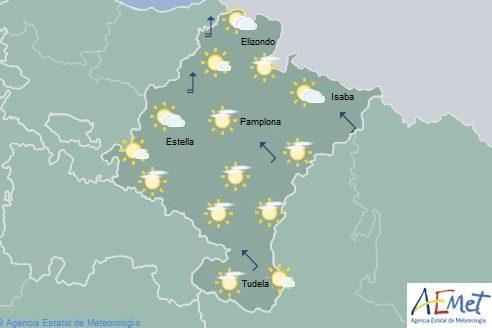 Intervalos de nubes altas en Navarra con temperaturas en aumento