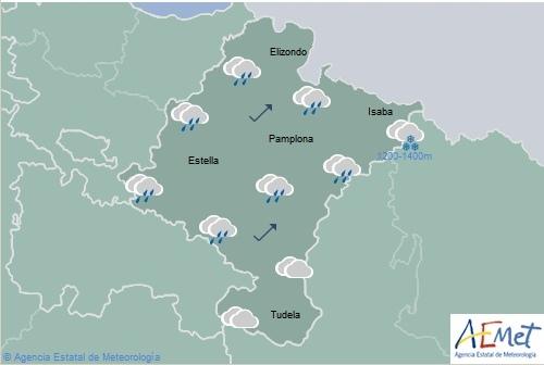Lluvias y chubascos generalizados en Navarra