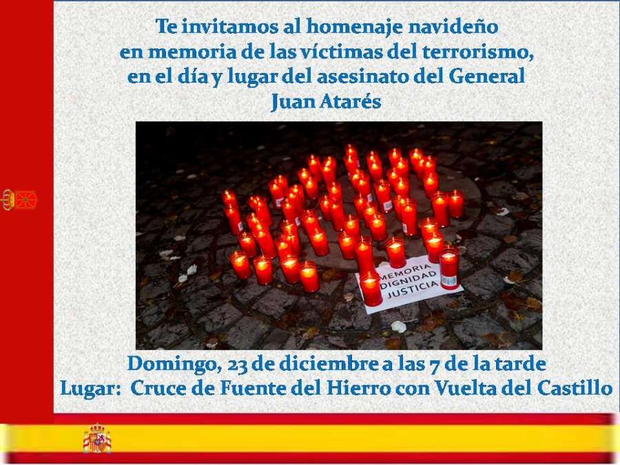Homenaje navideño en memoria de las víctimas de ETA este domingo