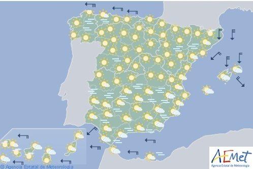 Hoy en España, temperaturas significativamente bajas en el interior