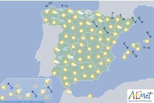 Hoy en España, temperaturas significativamente bajas en la vertiente atlántica
