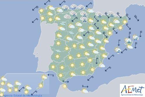 Hoy en España, nieve a 300 metros viento fuerte en Pirineos, Ampurdán y Baleares