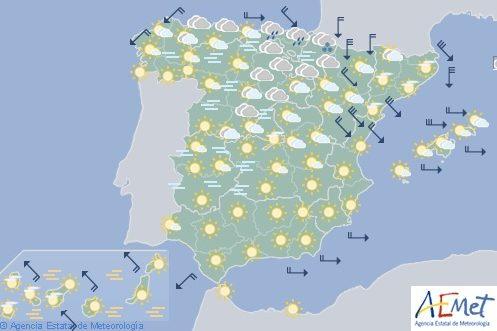 Hoy en España, viento con fuertes rachas en noreste y ascenso temperaturas mínimas