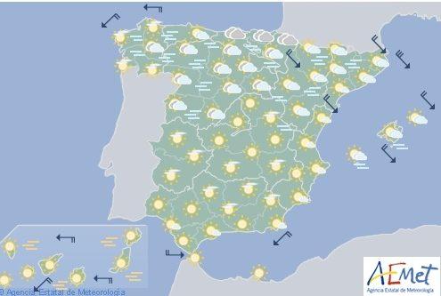 Hoy en España, predominio tiempo estable y cielos poco nubosos