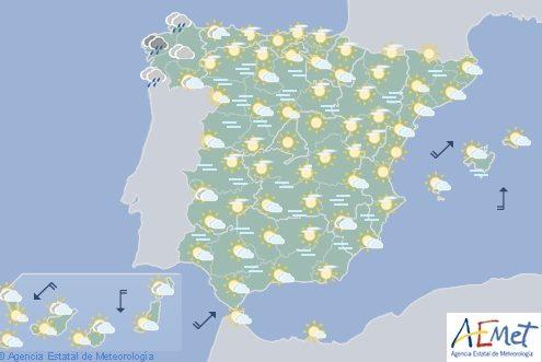 Hoy en España, temperaturas significativamente bajas en Madrid, Meseta Norte y Sistema Ibérico
