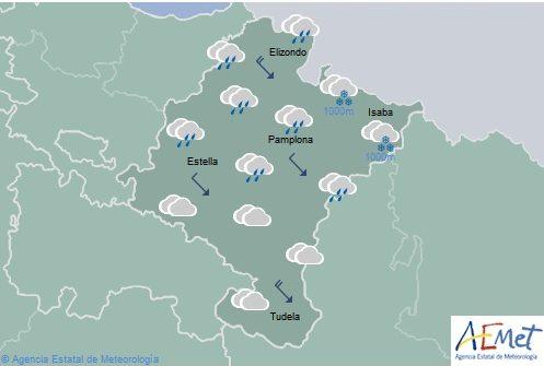 En Navarra nuboso con precipitaciones en el noroeste