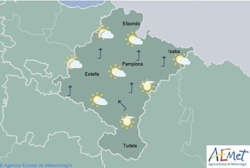 En Navarra nubosidad de evolución con precipitaciones generalizadas
